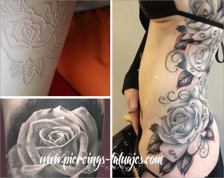 tatuajes rosas blancas